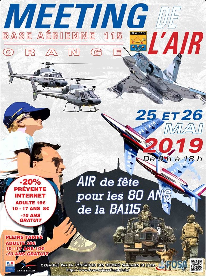 Meeting de l'Air BA-115 Orange de la FOSA Mirage 2000C airshow Meeting Aerien 2019