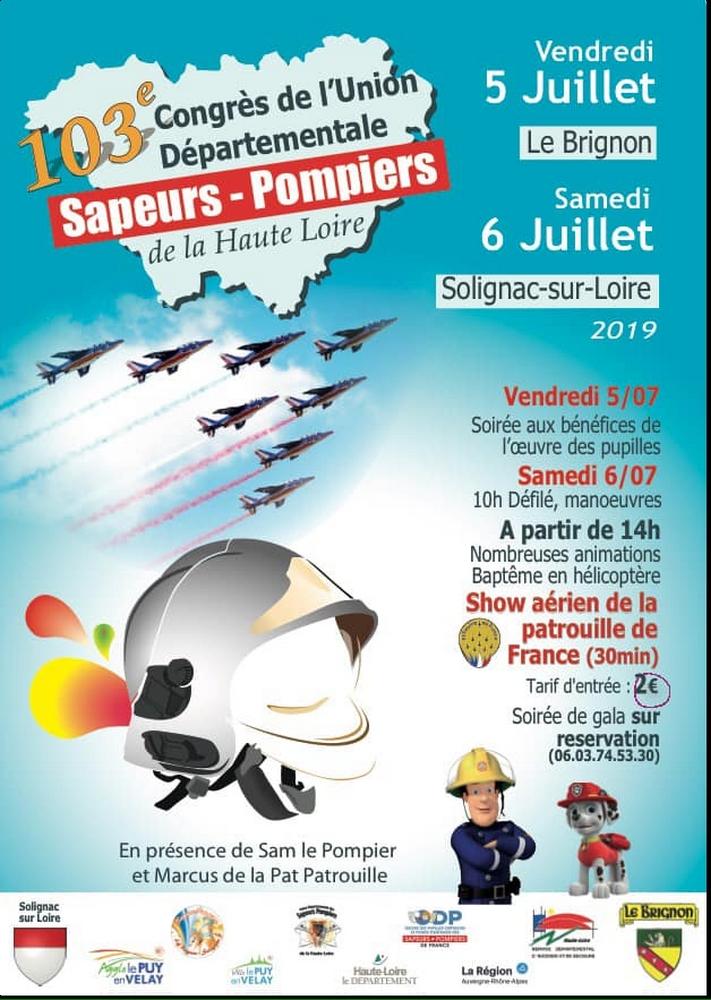 Congrès départemental de l'UDSP de la Haute Loire Amicale des Sapeurs Pompiers du Brignon Solignac patrouille de france meeting aerien 2019