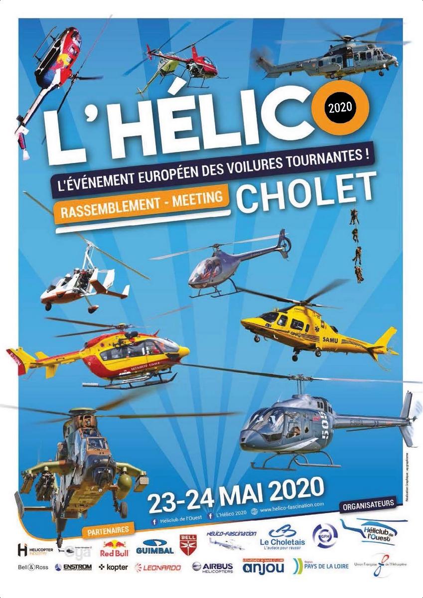 l'Helico du 23 et 24 mai 2020 à Cholet hélicoptères Meeting aerien aerodrome de CHOLET ALAT Héliclub de l'Ouest