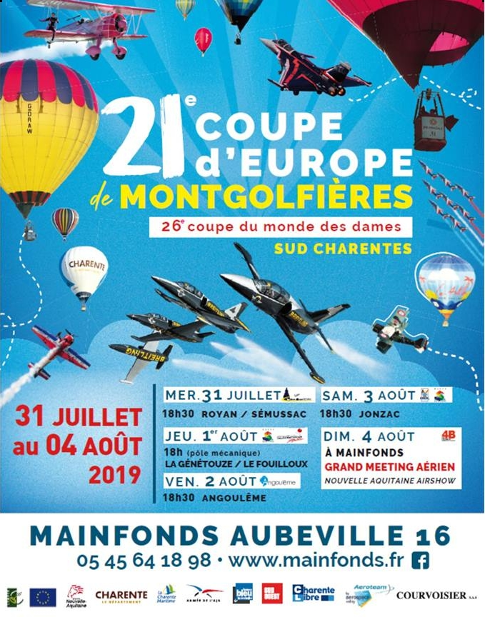Meeting Aerien 21e Coupe d'Europe de Montgolfières - Ladies World Cup du 31 juillet au 4 Août 2019 à Mainfonds - Aubeville en Charente 2019