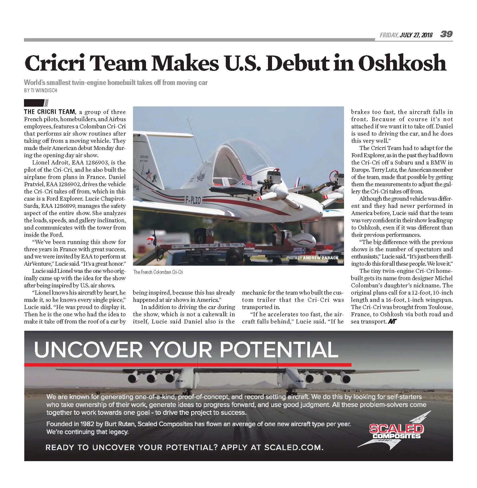 Cricri Team F-PLIO Colomban MC-15 osh2018 EAA AirVenture Oshkosh 2018 Wisconsin